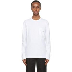 Comme des Garcons Homme White Logo Pocket Long Sleeve T-Shirt