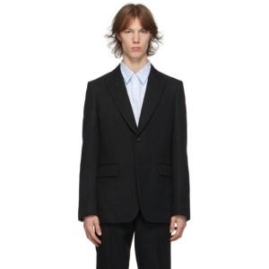 Comme des Garcons Homme Deux Black Wool Yarn-Dyed Blazer