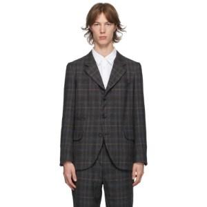 Comme des Garcons Homme Deux Grey Wool Glen Check Blazer