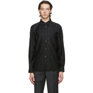 Comme des Garcons Homme Deux Black Gabardine Star Shirt
