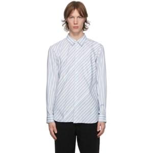 Comme des Garcons Homme Deux White and Blue Stripe Shirt