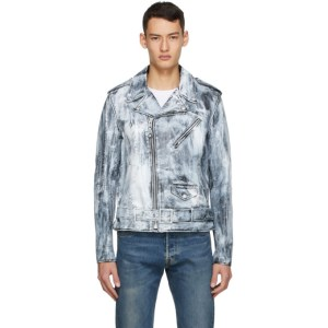 Schott Black and White Leather Painted Jacket