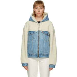 Levis Off-White and Blue Sherpa Hooded Hybrid Trucker Jacket