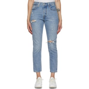 Levis Blue Distressed 501 Skinny Jeans