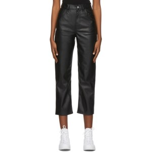Levis Black Faux-Leather Ribcage Straight Trousers