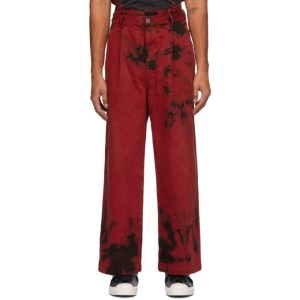 Feng Chen Wang Red and Black Tie-Dye Cargo Pants