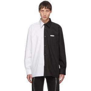 Xander Zhou White and Black Colorblock Shirt