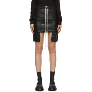 Rick Owens Drkshdw Black Vegan Leather Miniskirt