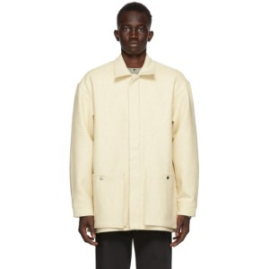 UNIFORME Off-White Wool Patched Overshirt Jacket