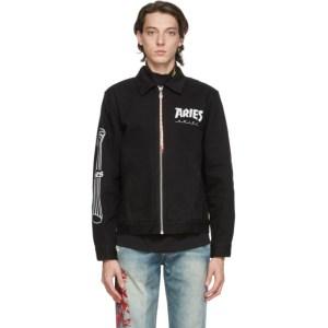 Aries Black Denim Column Zip Jacket