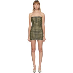 Charlotte Knowles SSENSE Exclusive Green Check Skinn Dress
