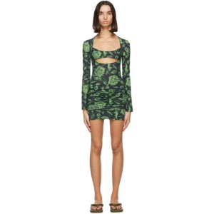 Charlotte Knowles SSENSE Exclusive Black and Green Scant Dress