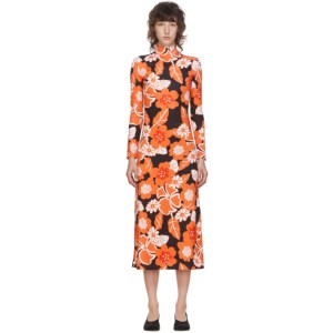 Rokh Black and Orange Floral Dress