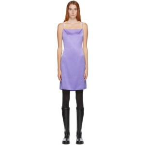Helmut Lang SSENSE Exclusive Purple Silk Open Back Mini Dress
