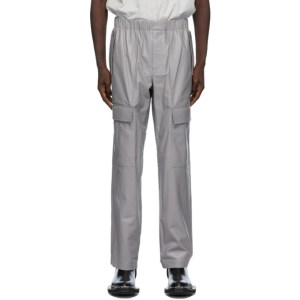 Helmut Lang Grey Leather Utility Trousers
