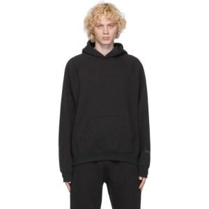 Essentials Black Fleece Pullover Hoodie