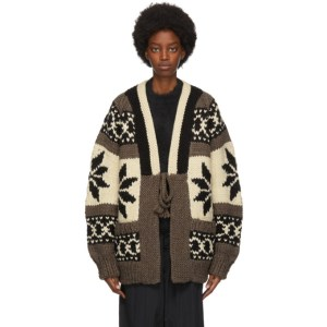Fumito Ganryu Brown Intarsia Knit Cardigan