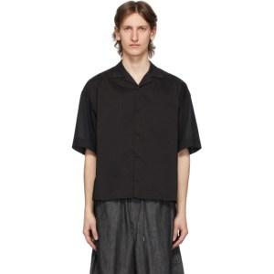 Fumito Ganryu Black Open Collar Combination Shirt