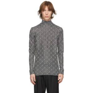 Casablanca Black and Silver Lurex Monogram Turtleneck
