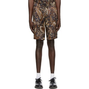 Nahmias SSENSE Exclusive Brown Silk Paisley Shorts