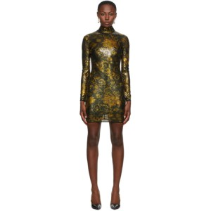 Versace Jeans Couture Black and Gold Glitter Short Dress