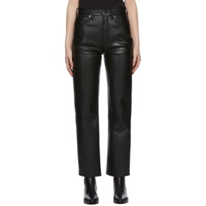 AGOLDE Black Recycled Leather 90s Pinch Pants