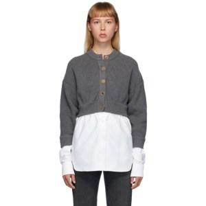 alexanderwang.t Grey Bi-Layer Oxford Shirting Cardigan