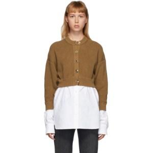 alexanderwang.t Brown Bi-Layer Oxford Shirting Cardigan