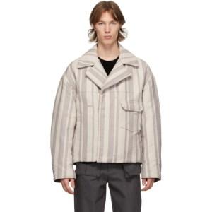 Kuro Grey Denim Stripe Boundary Jacket