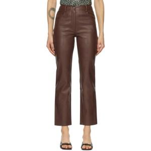 Miaou Brown Vegan Leather Junior Pants