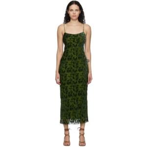 Marina Moscone Green Velvet Burnout Bias Slip Dress