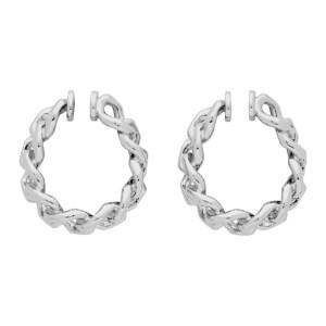 Portrait Report Silver Twist Ring Chain Ear Cuffs