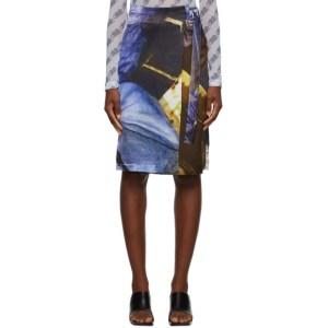 Serapis Multicolor Silk Buckle Skirt