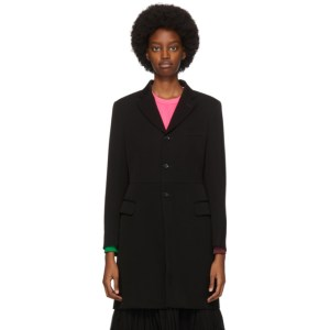 Comme des Garcons Black Wool Vented Coat