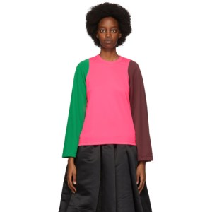 Comme des Garcons Pink Colorblock Long Sleeve T-Shirt