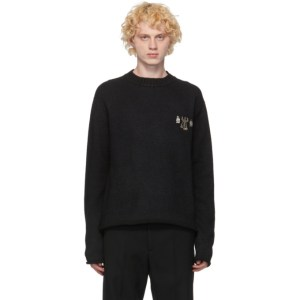 Jil Sander Black Wool and Silk Metal Decoration Sweater