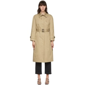 Pushbutton Beige Bustier Trench Coat