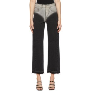 Pushbutton Black Two-Tone Raw Hem Jeans