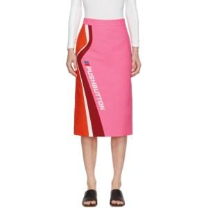 Pushbutton Pink and Orange Logo Skirt