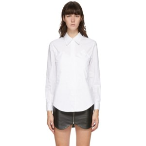 Pushbutton White Bustier Pocket Shirt