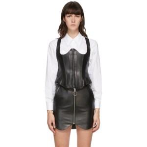 Pushbutton SSENSE Exclusive Black Leather Bustier Camisole