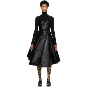 Junya Watanabe Black and White Faux-Leather Tulle Dress