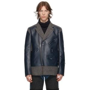 Junya Watanabe Navy Leather and Tweed Jacket