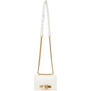 Alexander McQueen Off-White Mini Croc Jewelled Satchel Bag