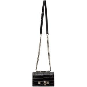 Alexander McQueen Black Croc Mini Jewelled Satchel Bag