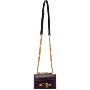 Alexander McQueen Purple Croc Mini Jewelled Satchel Bag
