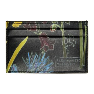 Alexander McQueen Black Floral Deconstructed Card Holder