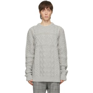 Paul Smith Grey Virgin Wool Cable Knit Sweater