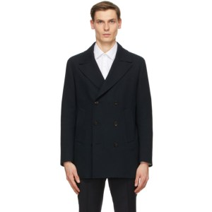 Z Zegna Black Wool Double-Breasted Coat
