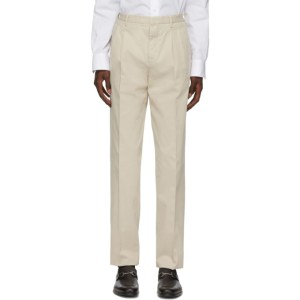 Ermenegildo Zegna Off-White Pleated Trousers